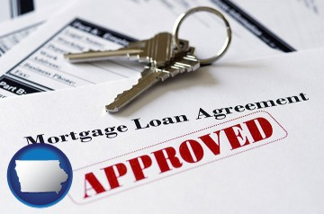 an approved mortgage loan agreement with Iowa map icon
