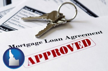 an approved mortgage loan agreement with Idaho map icon