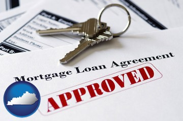 an approved mortgage loan agreement with Kentucky map icon