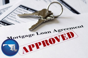 an approved mortgage loan agreement with Maryland map icon
