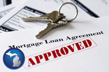 an approved mortgage loan agreement with Michigan map icon