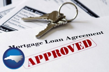 an approved mortgage loan agreement with North Carolina map icon