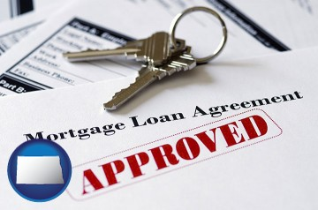 an approved mortgage loan agreement with North Dakota map icon
