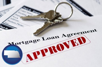 an approved mortgage loan agreement with Nebraska map icon