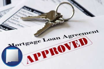 an approved mortgage loan agreement with New Mexico map icon