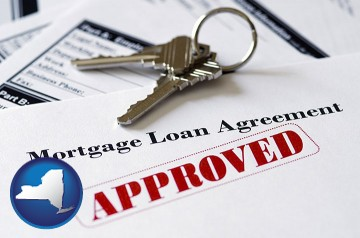 an approved mortgage loan agreement with New York map icon