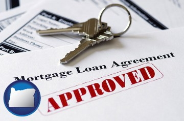 an approved mortgage loan agreement with Oregon map icon
