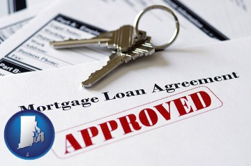 an approved mortgage loan agreement with Rhode Island map icon