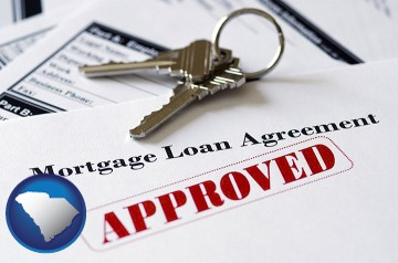 an approved mortgage loan agreement with South Carolina map icon