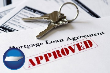 an approved mortgage loan agreement with Tennessee map icon