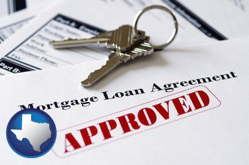 an approved mortgage loan agreement with Texas map icon