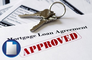 an approved mortgage loan agreement with Utah map icon