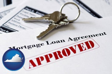 an approved mortgage loan agreement with Virginia map icon