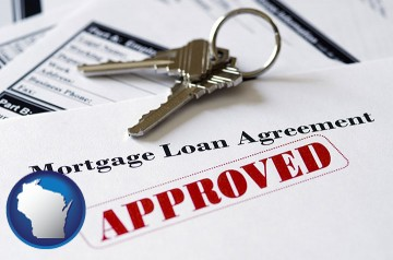 an approved mortgage loan agreement with Wisconsin map icon