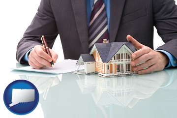a real estate mortgage broker with Connecticut map icon