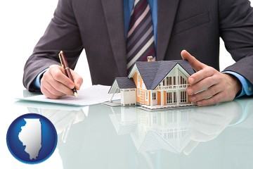 a real estate mortgage broker with Illinois map icon