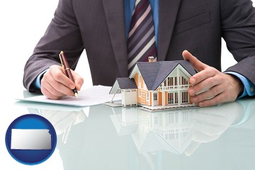 a real estate mortgage broker with Kansas map icon