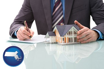 a real estate mortgage broker with Massachusetts map icon