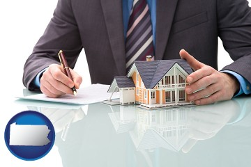 a real estate mortgage broker with Pennsylvania map icon
