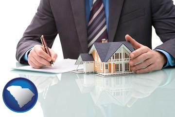 a real estate mortgage broker with South Carolina map icon