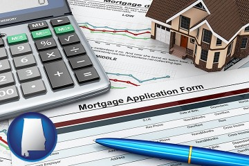 a mortgage application form with Alabama map icon