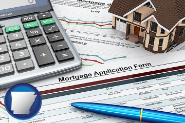 a mortgage application form with Arkansas map icon