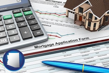 a mortgage application form with Arizona map icon