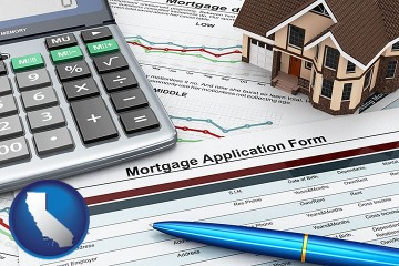 a mortgage application form with California map icon