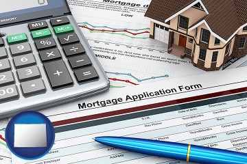 a mortgage application form with Colorado map icon