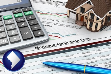 a mortgage application form with Washington, DC map icon