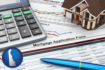a mortgage application form with Delaware map icon