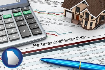 a mortgage application form with Georgia map icon