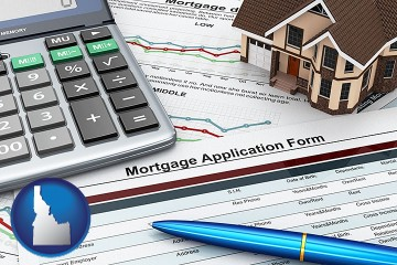 a mortgage application form with Idaho map icon