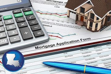 a mortgage application form with Louisiana map icon