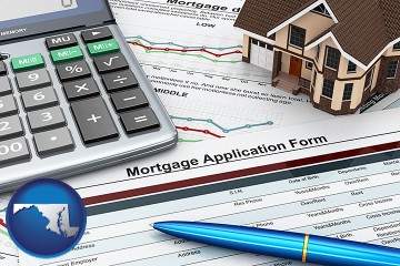 a mortgage application form with Maryland map icon
