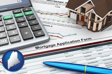 a mortgage application form with Maine map icon