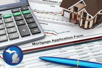 a mortgage application form with Michigan map icon
