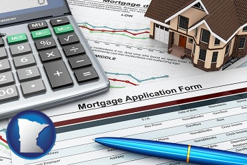 a mortgage application form with Minnesota map icon