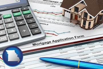 a mortgage application form with Missouri map icon