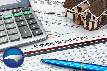 a mortgage application form with North Carolina map icon