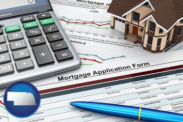 a mortgage application form with Nebraska map icon