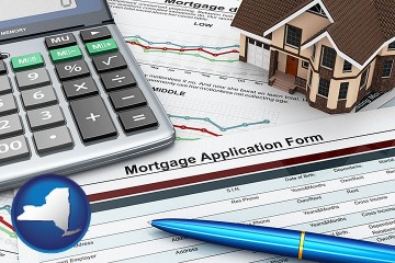 mortgage application form with New York map icon