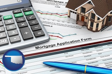 a mortgage application form with Oklahoma map icon