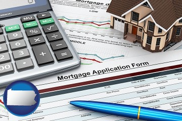 a mortgage application form with Pennsylvania map icon