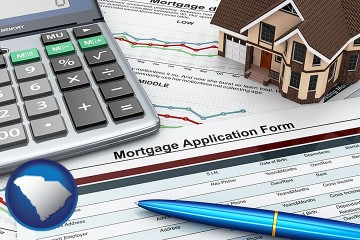 a mortgage application form with South Carolina map icon