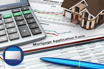 mortgage application form with South Dakota map icon
