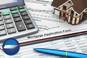 a mortgage application form with Tennessee map icon