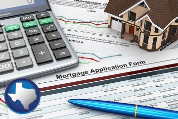 mortgage application form with Texas map icon
