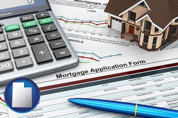 a mortgage application form with Utah map icon