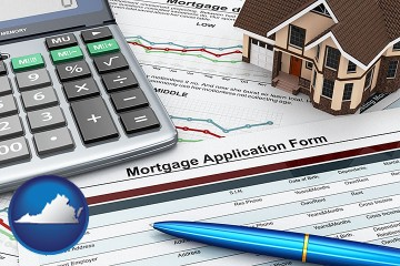 a mortgage application form with Virginia map icon
